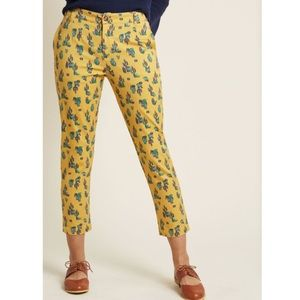 ModCloth mustard cactus cropped pants
